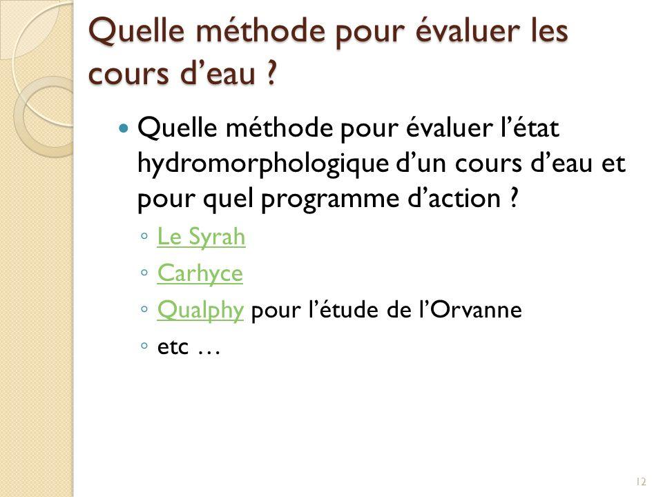 Quelle méthode pour évaluer les cours deau ? Quelle méthode pour évaluer létat hydromorphologique dun cours deau et pour quel programme daction ? Le S