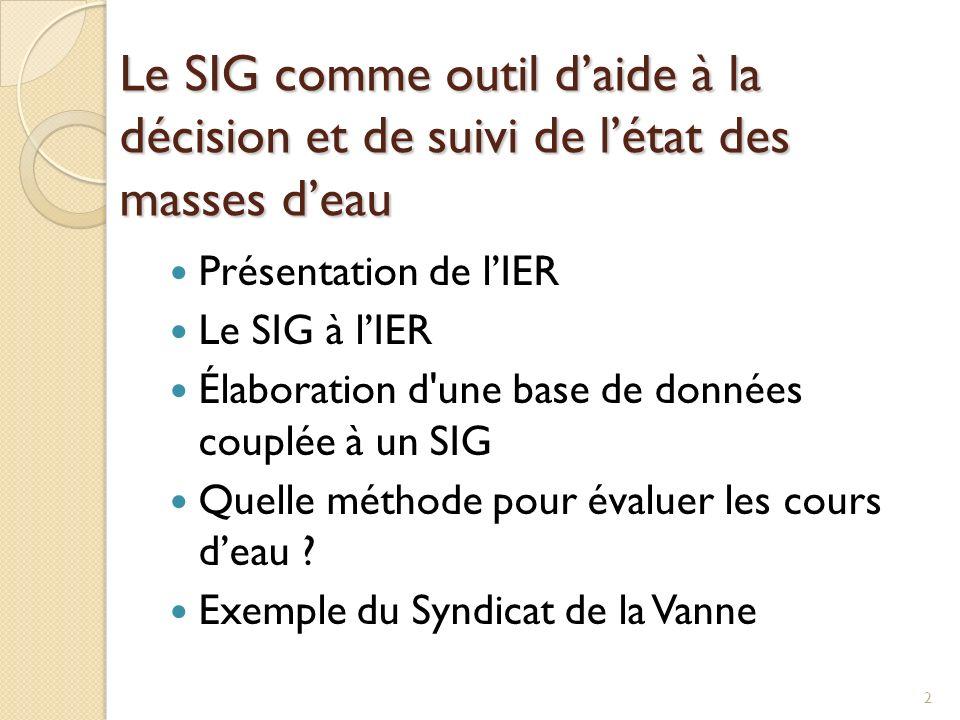 Le SIG comme outil daide à la décision et de suivi de létat des masses deau Présentation de lIER Le SIG à lIER Élaboration d'une base de données coupl