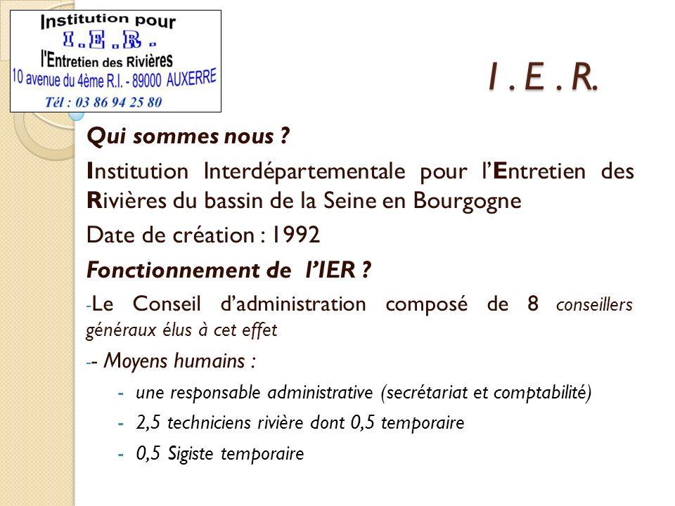 I. E. R. Qui sommes nous ? Institution Interdépartementale pour lEntretien des Rivières du bassin de la Seine en Bourgogne Date de création : 1992 Fon