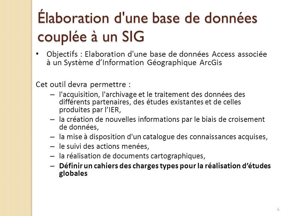 Élaboration d'une base de données couplée à un SIG Objectifs : Elaboration d'une base de données Access associée à un Système dInformation Géographiqu