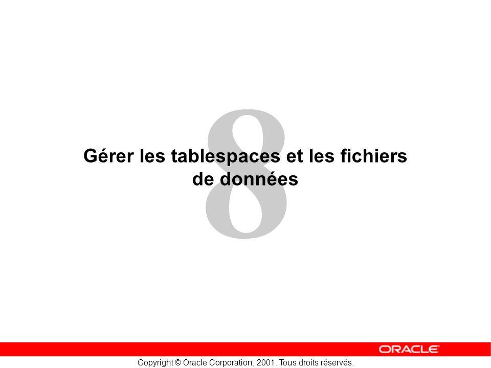 8 Copyright © Oracle Corporation, 2001. Tous droits réservés. Gérer les tablespaces et les fichiers de données