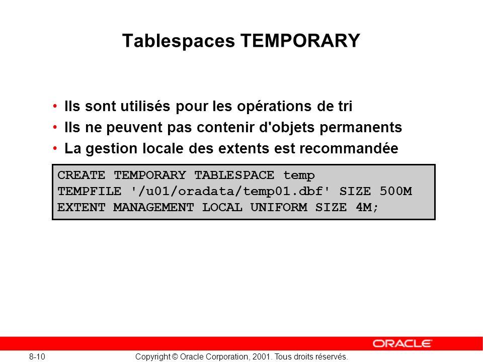 8-10 Copyright © Oracle Corporation, 2001. Tous droits réservés. Tablespaces TEMPORARY Ils sont utilisés pour les opérations de tri Ils ne peuvent pas