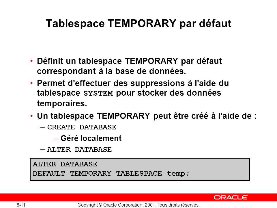 8-11 Copyright © Oracle Corporation, 2001. Tous droits réservés. Tablespace TEMPORARY par défaut Définit un tablespace TEMPORARY par défaut correspond