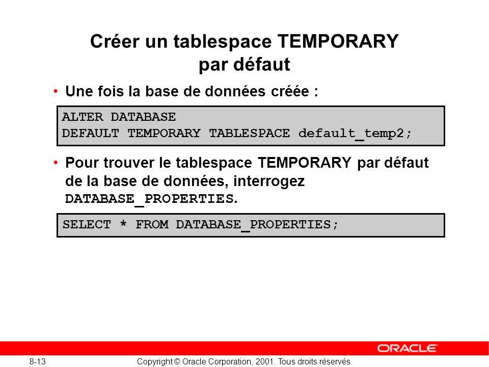8-13 Copyright © Oracle Corporation, 2001. Tous droits réservés. Créer un tablespace TEMPORARY par défaut Une fois la base de données créée : Pour tro