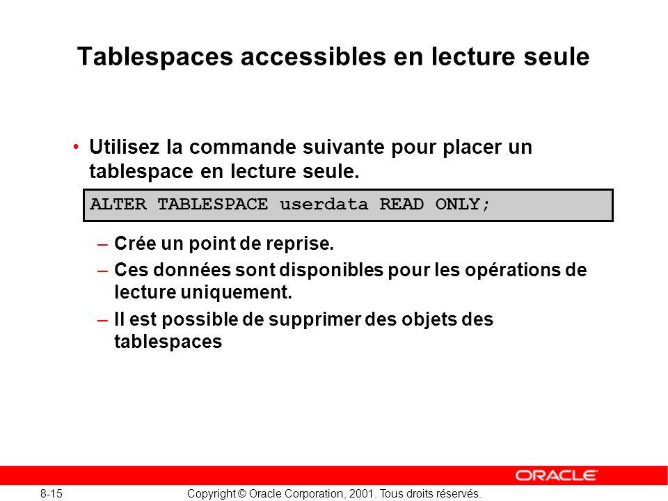 8-15 Copyright © Oracle Corporation, 2001. Tous droits réservés. Tablespaces accessibles en lecture seule Utilisez la commande suivante pour placer un