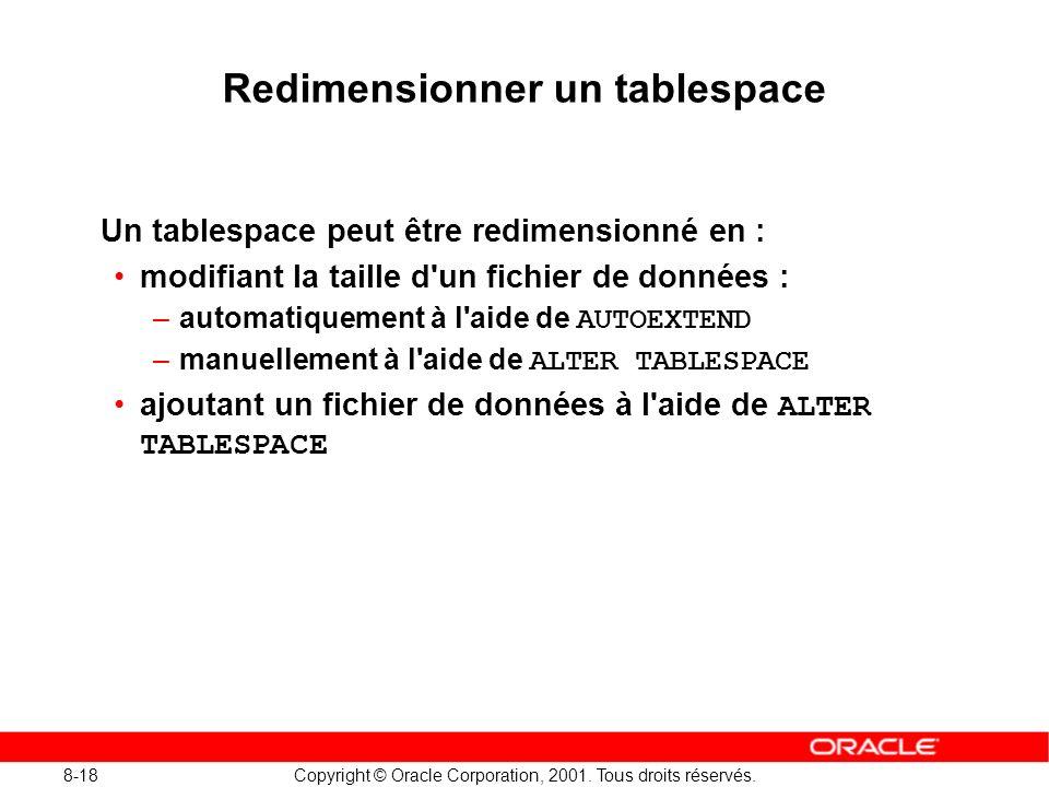 8-18 Copyright © Oracle Corporation, 2001. Tous droits réservés. Redimensionner un tablespace Un tablespace peut être redimensionné en : modifiant la