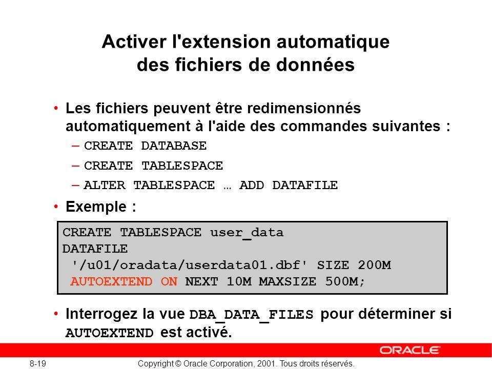 8-19 Copyright © Oracle Corporation, 2001. Tous droits réservés. Activer l'extension automatique des fichiers de données Les fichiers peuvent être red
