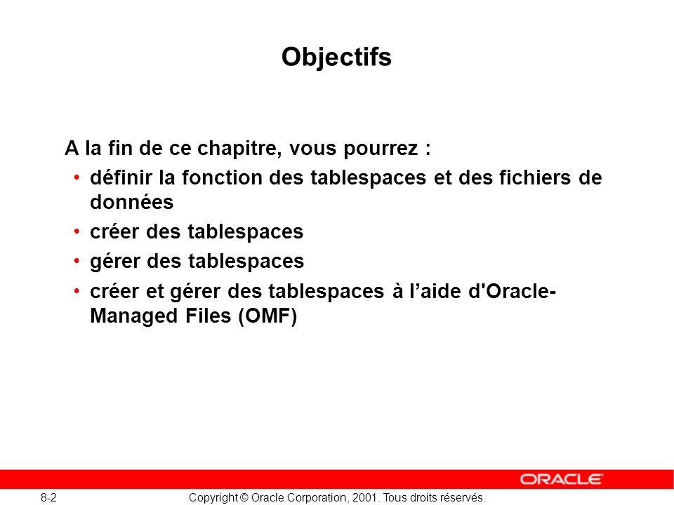 8-2 Copyright © Oracle Corporation, 2001. Tous droits réservés. Objectifs A la fin de ce chapitre, vous pourrez : définir la fonction des tablespaces