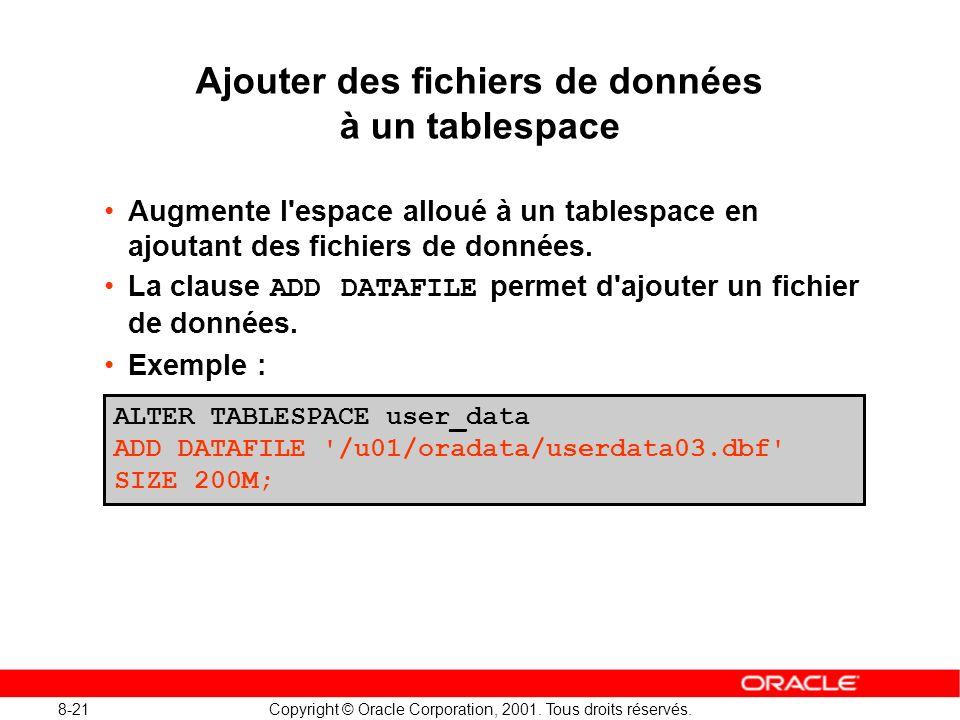 8-21 Copyright © Oracle Corporation, 2001. Tous droits réservés. Ajouter des fichiers de données à un tablespace Augmente l'espace alloué à un tablesp