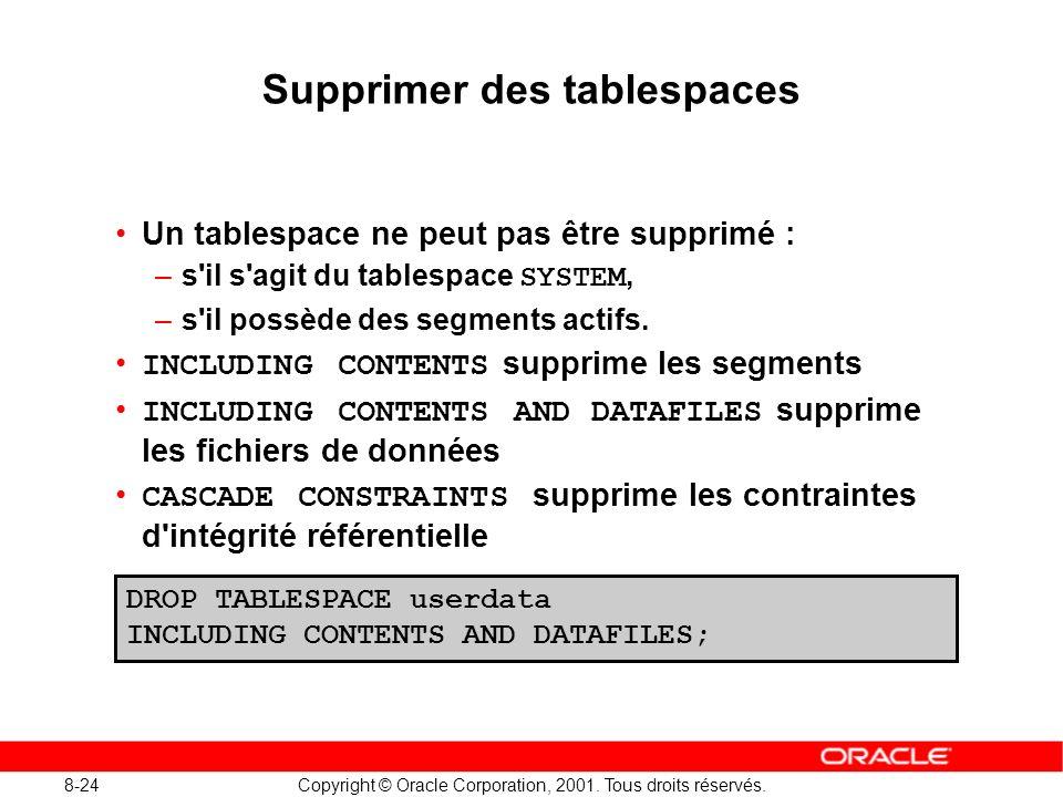 8-24 Copyright © Oracle Corporation, 2001. Tous droits réservés. Supprimer des tablespaces Un tablespace ne peut pas être supprimé : –s'il s'agit du t