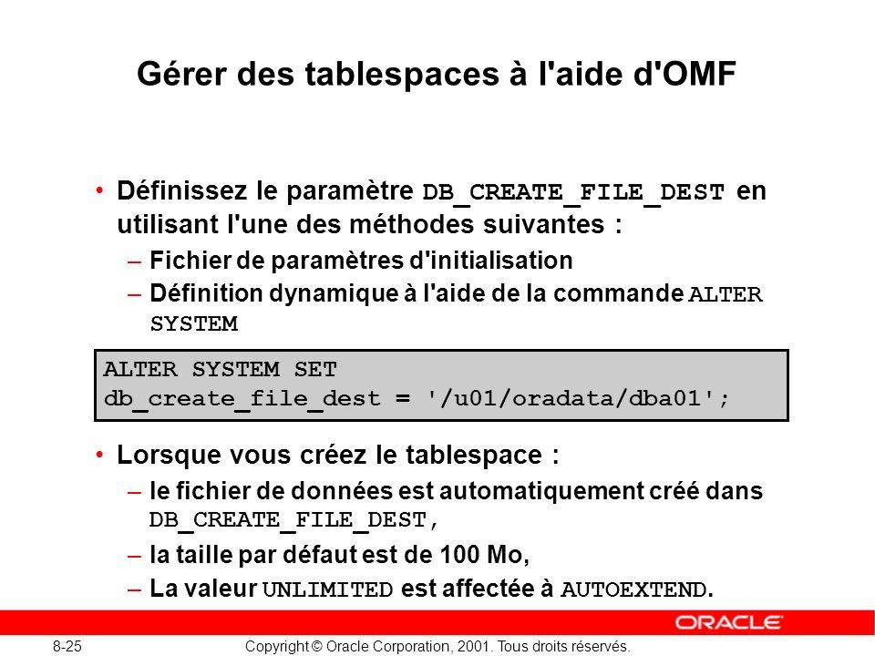 8-25 Copyright © Oracle Corporation, 2001. Tous droits réservés. Gérer des tablespaces à l'aide d'OMF Définissez le paramètre DB_CREATE_FILE_DEST en u