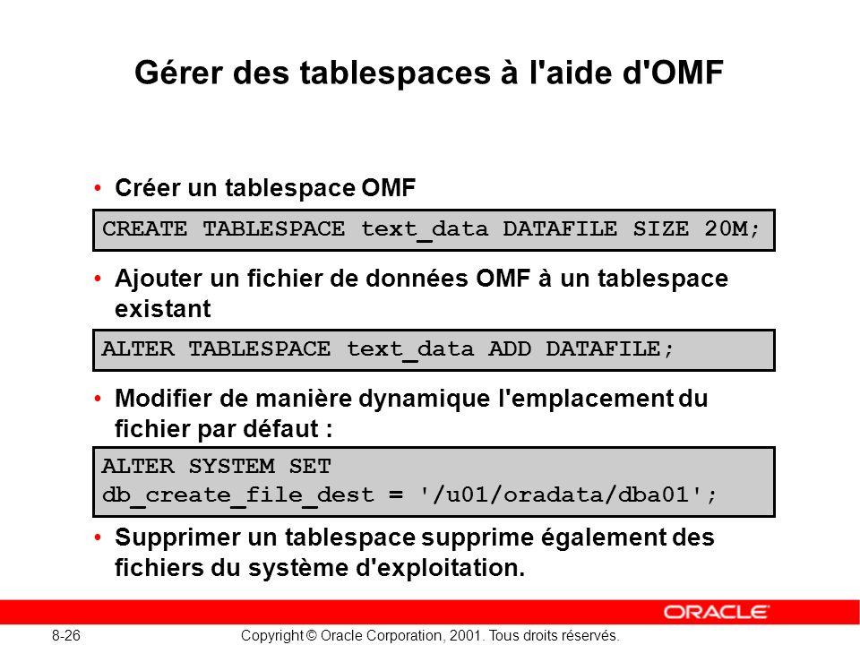 8-26 Copyright © Oracle Corporation, 2001. Tous droits réservés. Gérer des tablespaces à l'aide d'OMF Créer un tablespace OMF Ajouter un fichier de do
