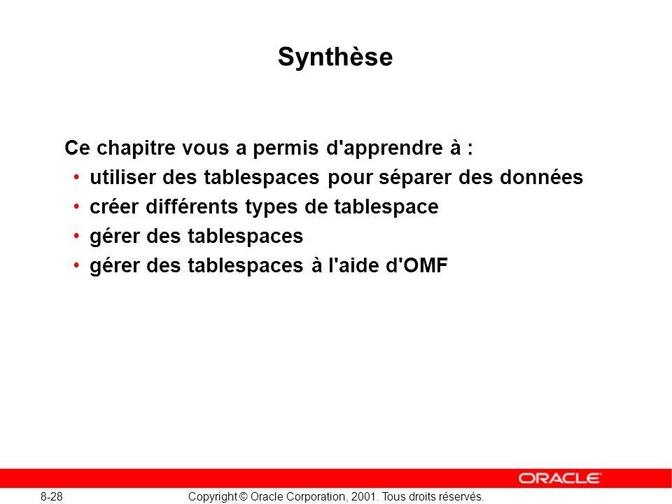 8-28 Copyright © Oracle Corporation, 2001. Tous droits réservés. Synthèse Ce chapitre vous a permis d'apprendre à : utiliser des tablespaces pour sépa
