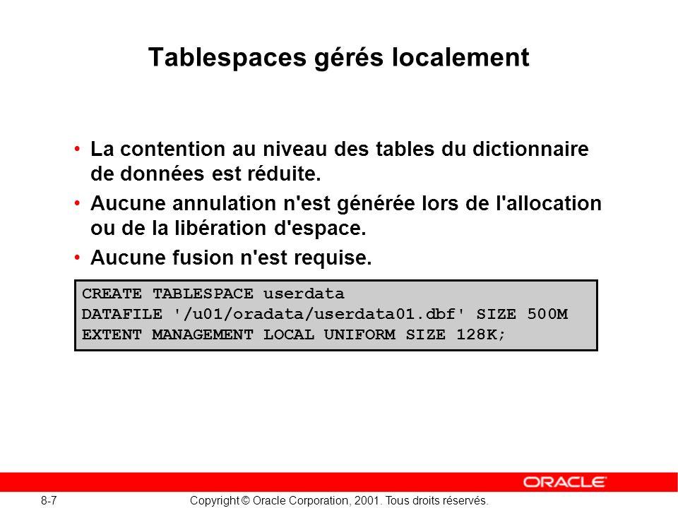 8-7 Copyright © Oracle Corporation, 2001. Tous droits réservés. Tablespaces gérés localement La contention au niveau des tables du dictionnaire de don