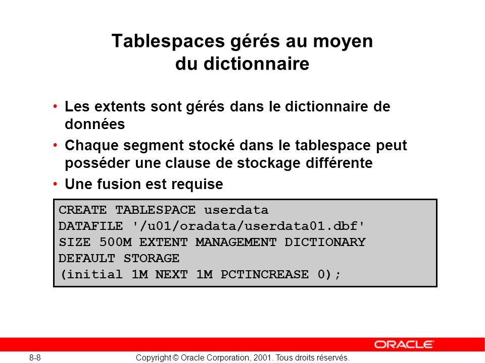 8-8 Copyright © Oracle Corporation, 2001. Tous droits réservés. Tablespaces gérés au moyen du dictionnaire Les extents sont gérés dans le dictionnaire