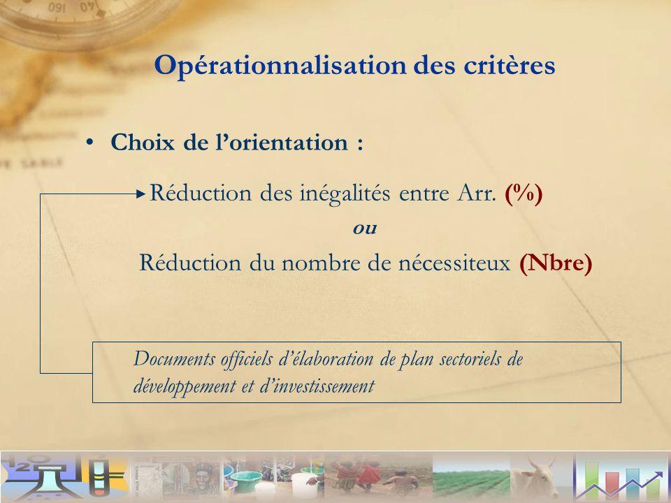Documents officiels délaboration de plan sectoriels de développement et dinvestissement Opérationnalisation des critères Choix de lorientation : Réduc