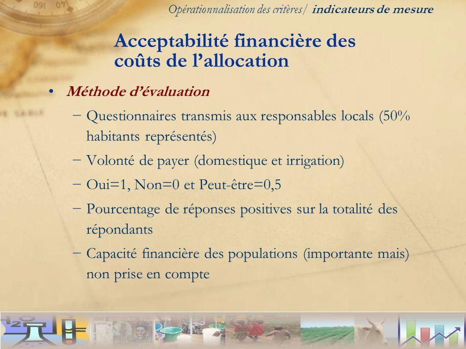 Méthode dévaluation Questionnaires transmis aux responsables locals (50% habitants représentés) Volonté de payer (domestique et irrigation) Oui=1, Non