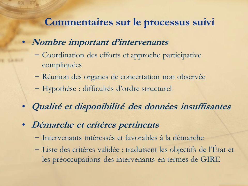 Nombre important dintervenants Coordination des efforts et approche participative compliquées Réunion des organes de concertation non observée Hypothè