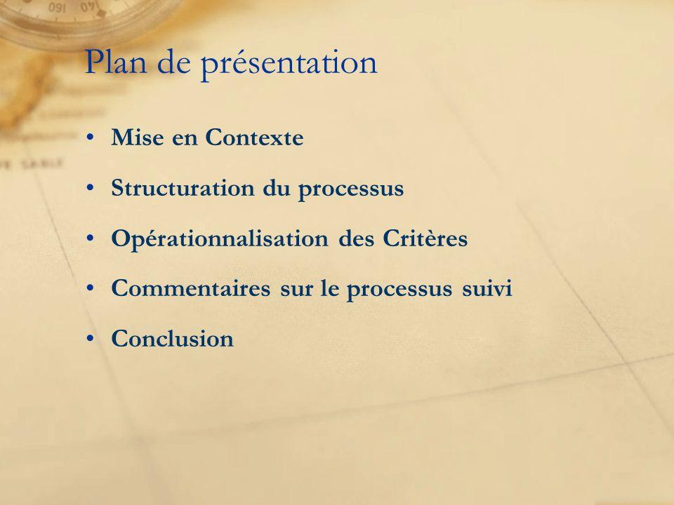 Mise en Contexte Structuration du processus Opérationnalisation des Critères Commentaires sur le processus suivi Conclusion Plan de présentation