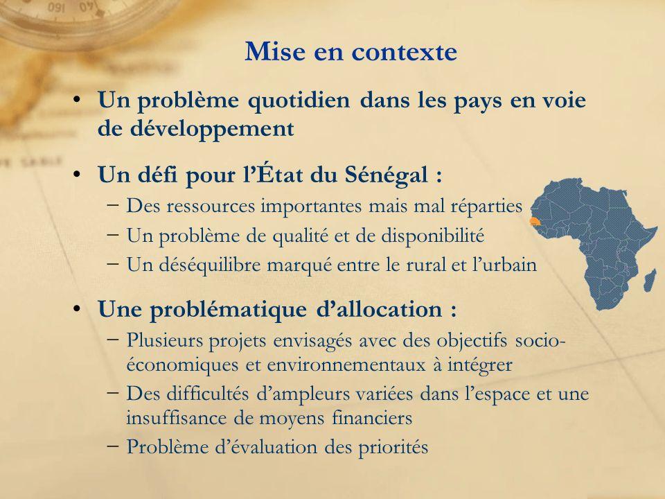 Mise en contexte Un problème quotidien dans les pays en voie de développement Un défi pour lÉtat du Sénégal : Des ressources importantes mais mal répa