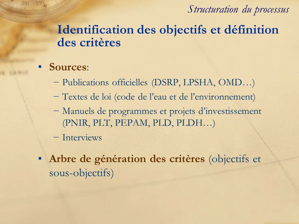 Identification des objectifs et définition des critères Sources: Publications officielles (DSRP, LPSHA, OMD…) Textes de loi (code de leau et de lenvir