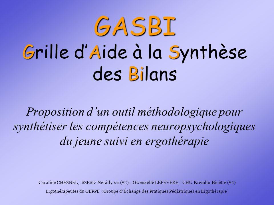 GASBI GAS Bi GASBI Grille dAide à la Synthèse des Bilans Proposition dun outil méthodologique pour synthétiser les compétences neuropsychologiques du