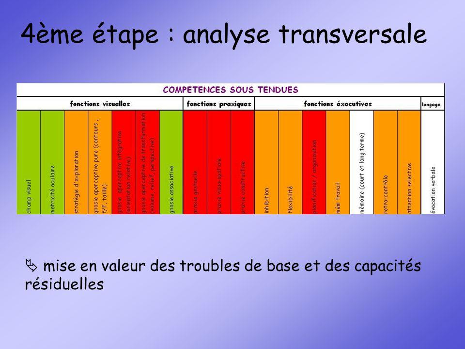 4ème étape : analyse transversale mise en valeur des troubles de base et des capacités résiduelles