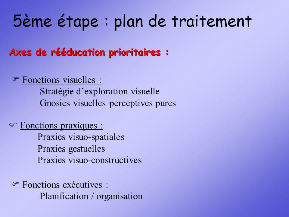 5ème étape : plan de traitement Fonctions visuelles : Stratégie dexploration visuelle Gnosies visuelles perceptives pures Fonctions praxiques : Praxie
