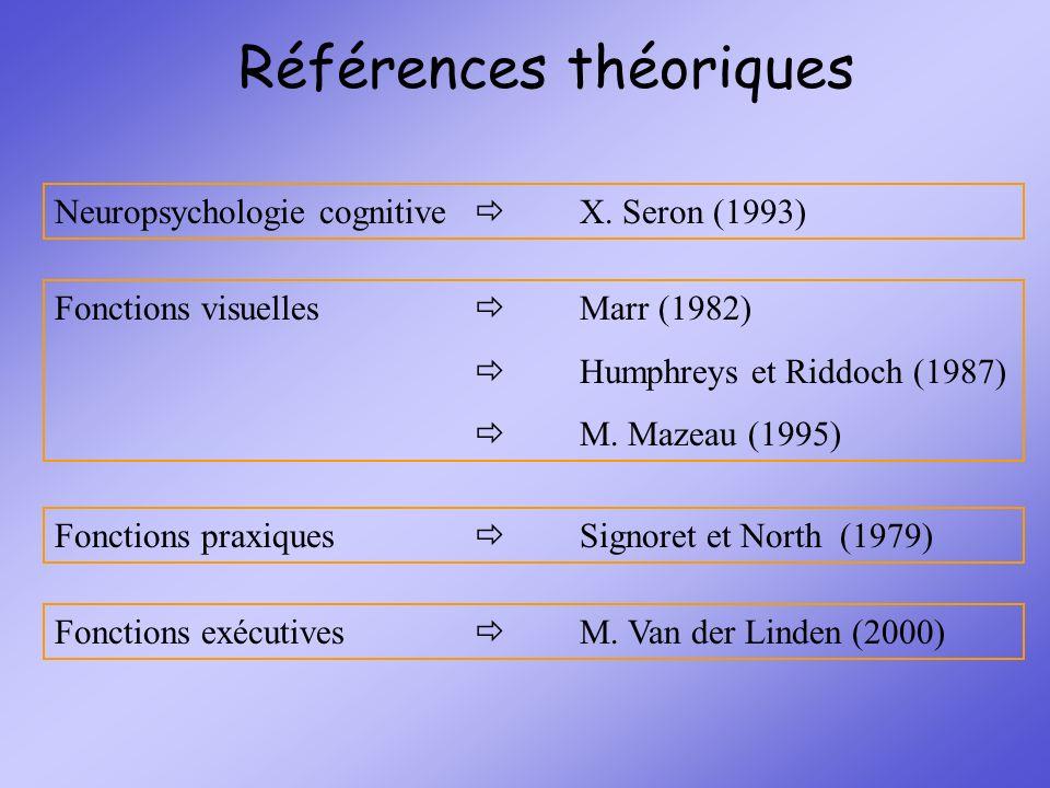 Références théoriques Neuropsychologie cognitive X. Seron (1993) Fonctions visuelles Marr (1982) Humphreys et Riddoch (1987) M. Mazeau (1995) Fonction