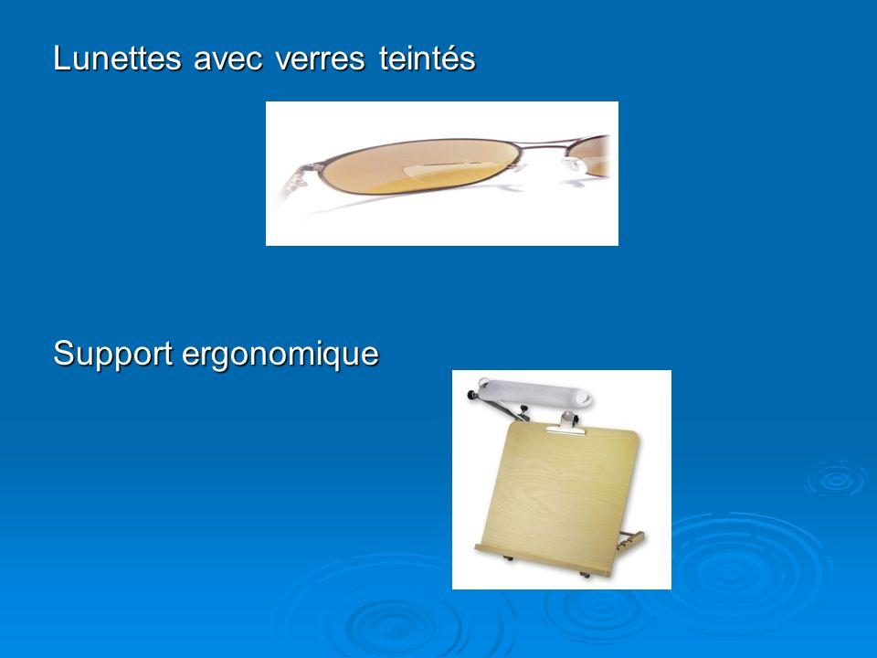 Lunettes avec verres teintés Support ergonomique
