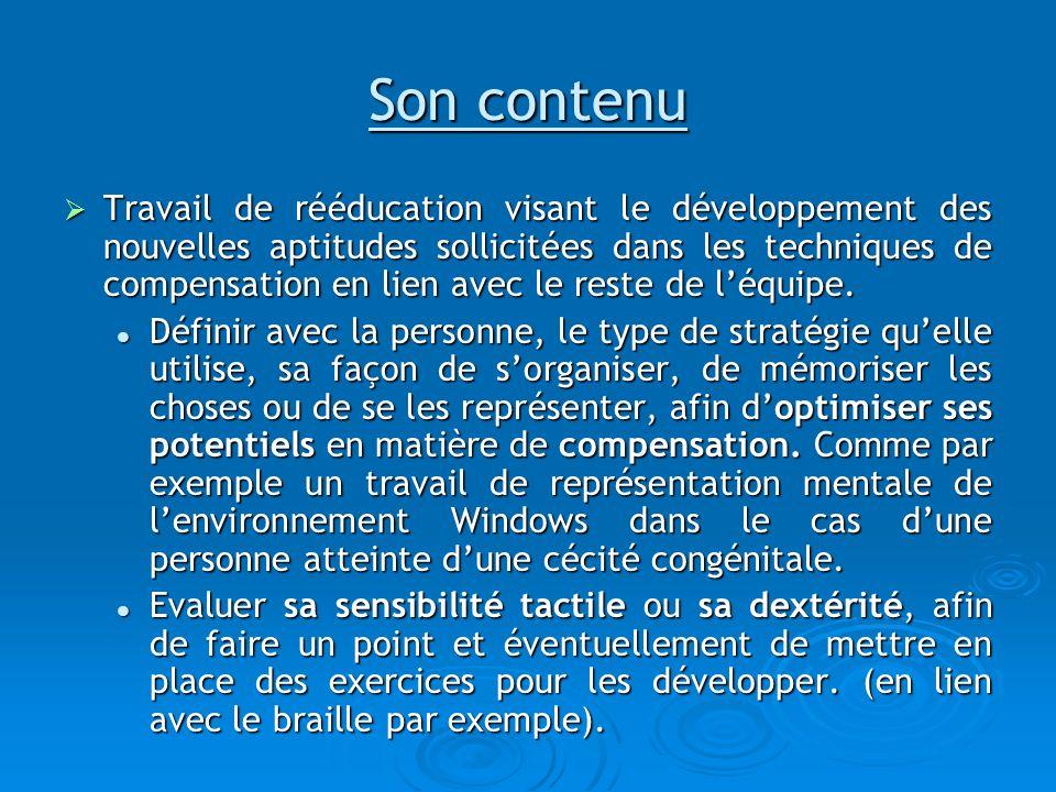 Son contenu Travail de rééducation visant le développement des nouvelles aptitudes sollicitées dans les techniques de compensation en lien avec le res