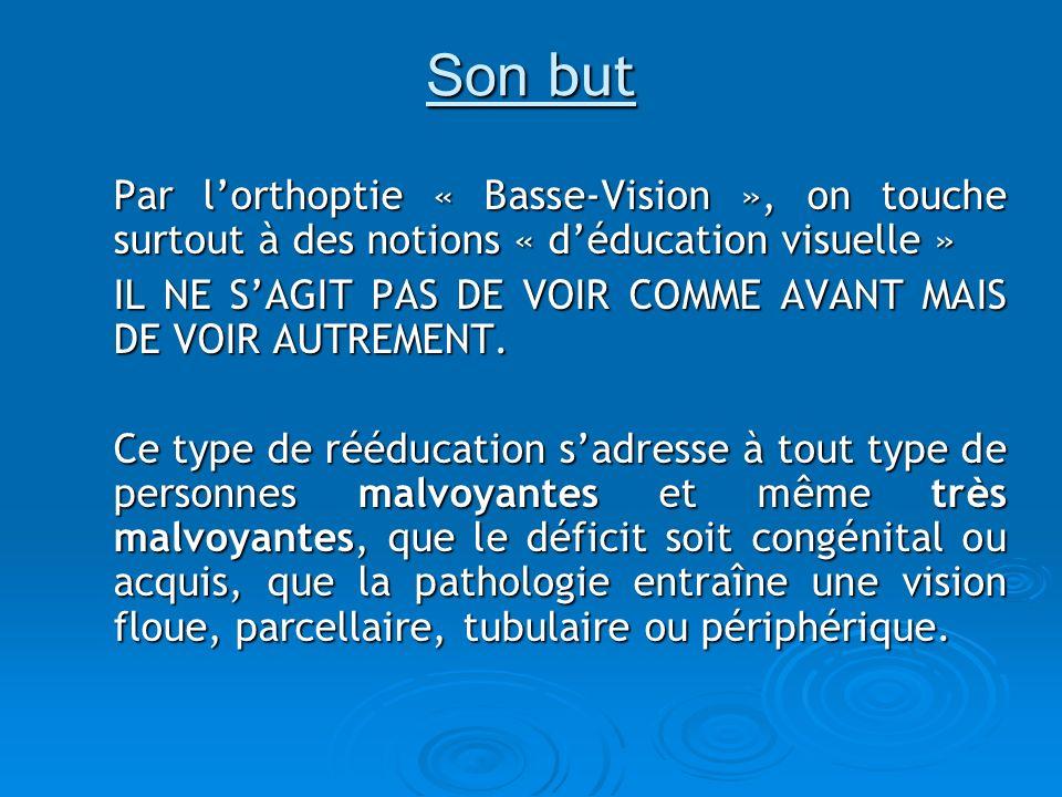 Son but Par lorthoptie « Basse-Vision », on touche surtout à des notions « déducation visuelle » IL NE SAGIT PAS DE VOIR COMME AVANT MAIS DE VOIR AUTR