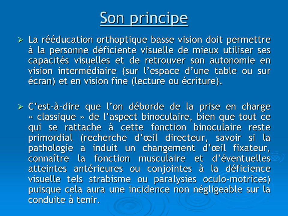 Son principe La rééducation orthoptique basse vision doit permettre à la personne déficiente visuelle de mieux utiliser ses capacités visuelles et de