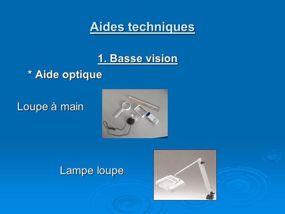Aides techniques 1. Basse vision * Aide optique Loupe à main Lampe loupe