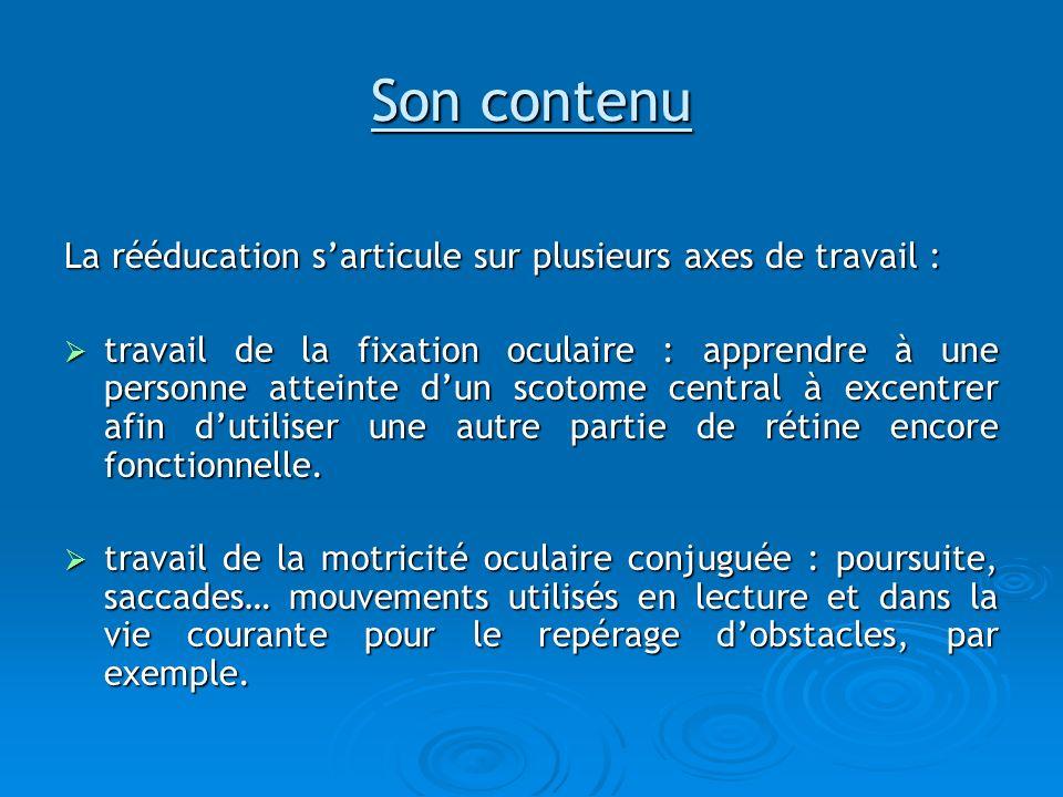 Son contenu La rééducation sarticule sur plusieurs axes de travail : travail de la fixation oculaire : apprendre à une personne atteinte dun scotome c