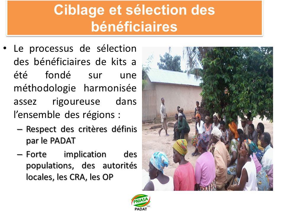 Ciblage et sélection des bénéficiaires Le processus de sélection des bénéficiaires de kits a été fondé sur une méthodologie harmonisée assez rigoureuse dans lensemble des régions : – Respect des critères définis par le PADAT – Forte implication des populations, des autorités locales, les CRA, les OP