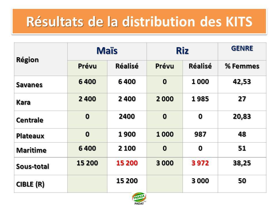 Résultats (suite) Au total 19.172 kits sont distribués dans les 5 régions soit une réalisation de 105% par rapport PTBA an 1.