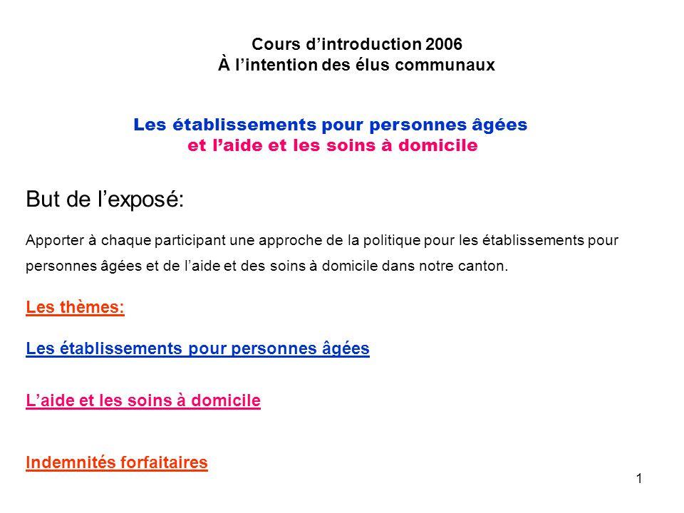 2 Cours dintroduction 2006 À lintention des élus communaux Les établissements pour personnes âgées