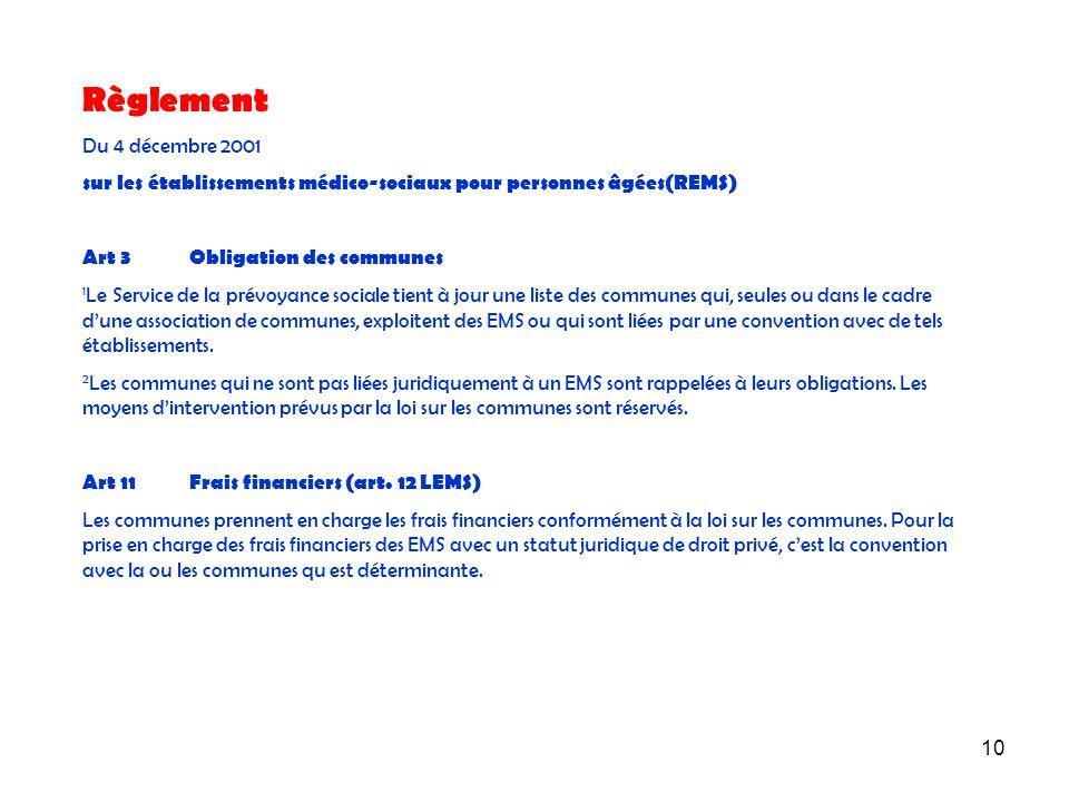 10 Règlement Du 4 décembre 2001 sur les établissements médico-sociaux pour personnes âgées(REMS) Art 3Obligation des communes 1 Le Service de la prévo
