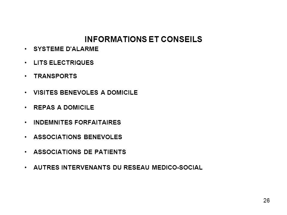 26 INFORMATIONS ET CONSEILS SYSTEME D'ALARME LITS ELECTRIQUES TRANSPORTS VISITES BENEVOLES A DOMICILE REPAS A DOMICILE INDEMNITES FORFAITAIRES ASSOCIA