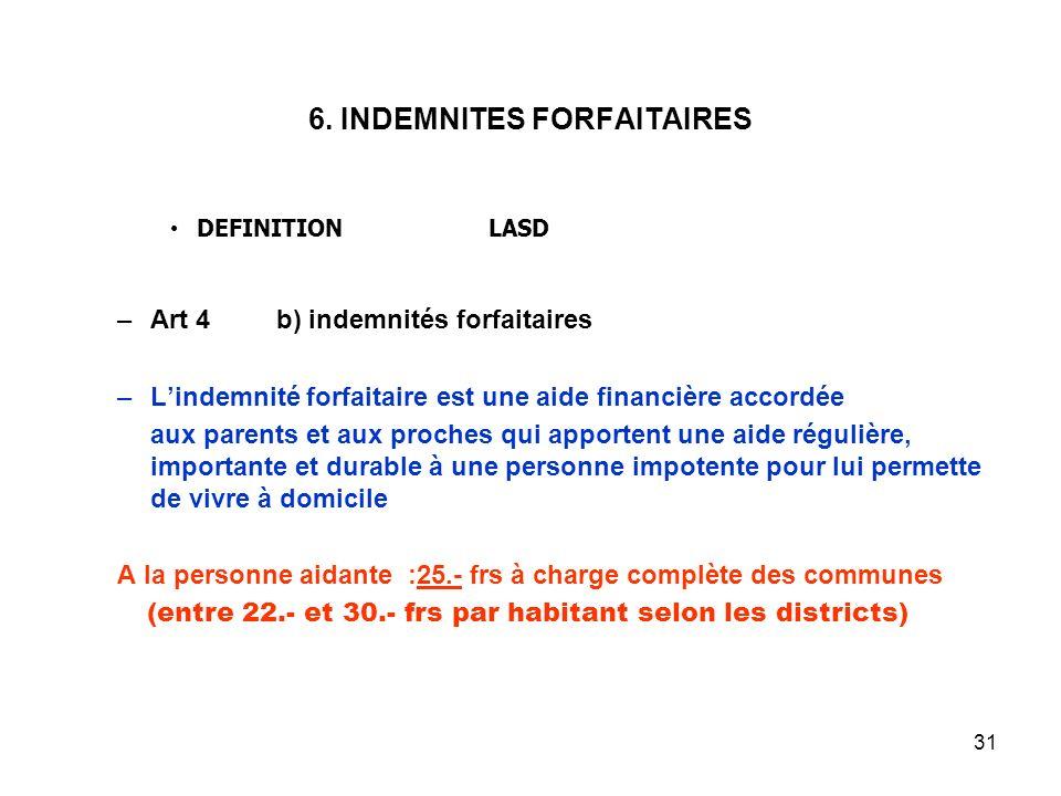 31 6. INDEMNITES FORFAITAIRES DEFINITIONLASD –Art 4b) indemnités forfaitaires –Lindemnité forfaitaire est une aide financière accordée aux parents et
