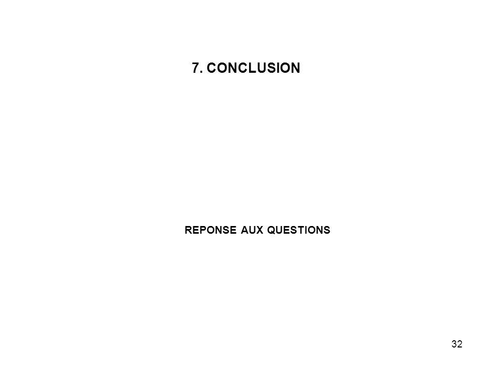 32 7. CONCLUSION REPONSE AUX QUESTIONS