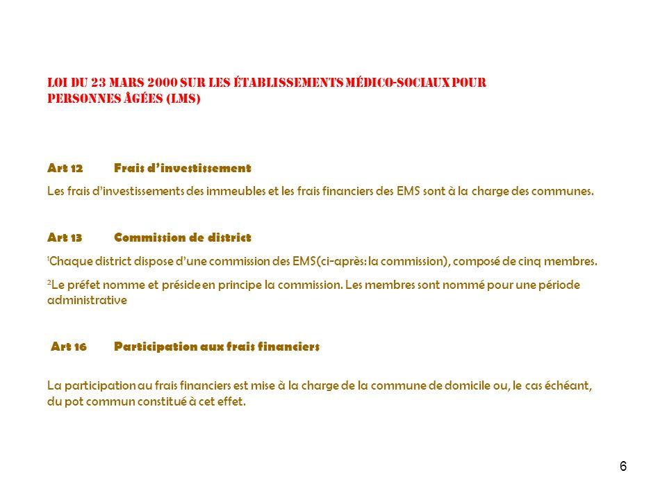 6 Loi du 23 mars 2000 sur les établissements médico-sociaux pour personnes âgées (LMS) Art 12 Frais dinvestissement Les frais dinvestissements des imm