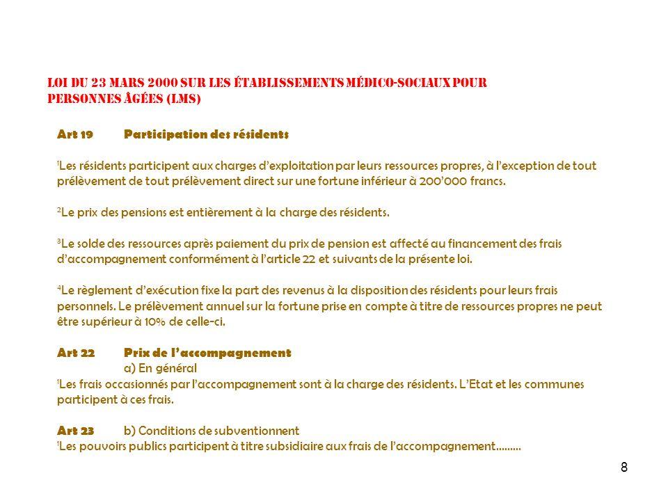 9 Loi du 23 mars 2000 sur les établissements médico-sociaux pour personnes âgées (LMS) Art 25 d) Part de lEtat et des communes 1 Les participations des pouvoirs publics sont prises en charge à raison de 45% lEtat et 55% par lensemble des communes.