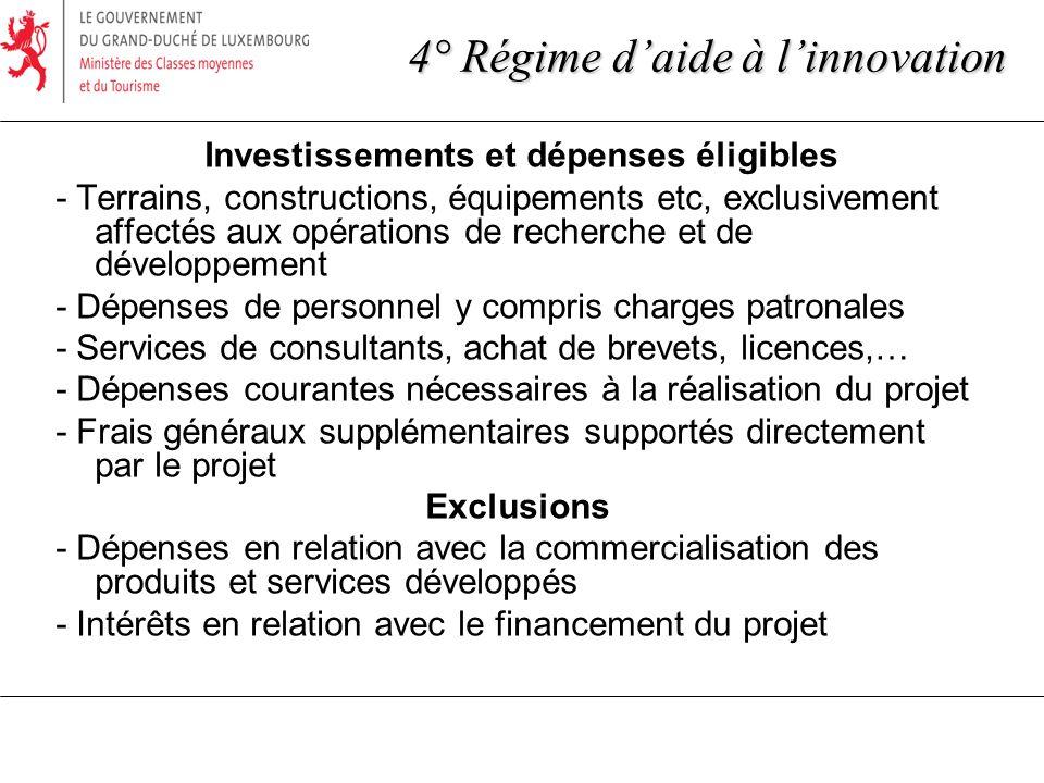 Investissements et dépenses éligibles - Terrains, constructions, équipements etc, exclusivement affectés aux opérations de recherche et de développeme