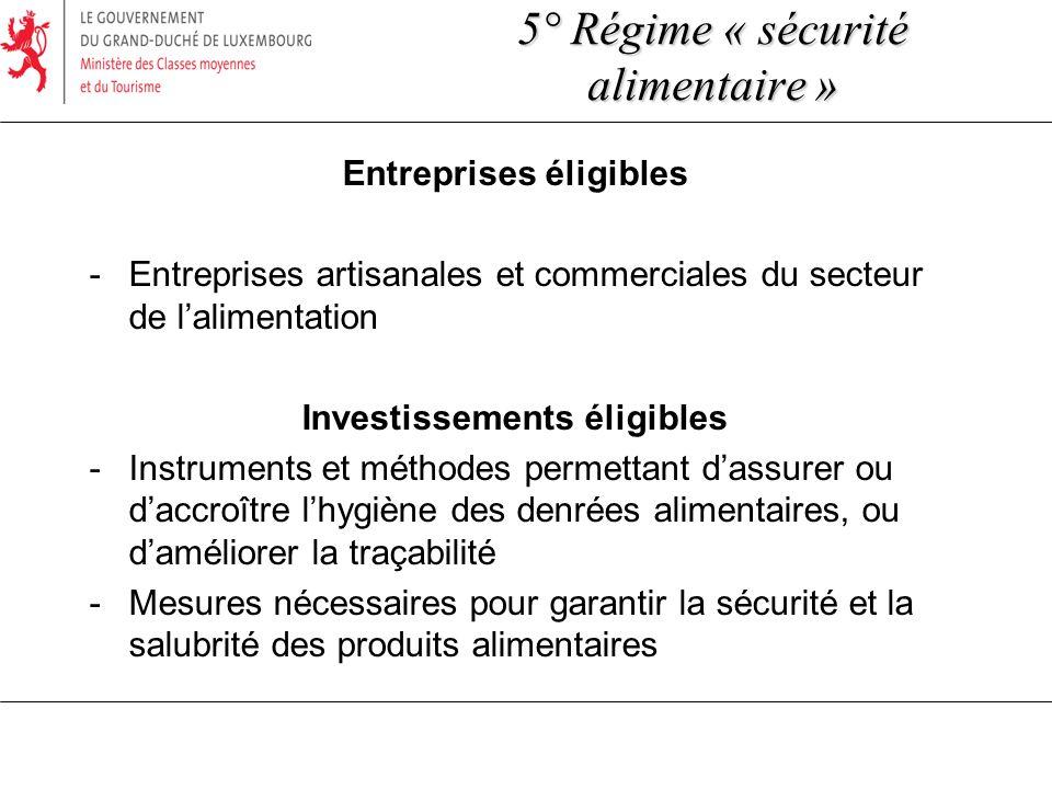 Entreprises éligibles -Entreprises artisanales et commerciales du secteur de lalimentation Investissements éligibles -Instruments et méthodes permetta