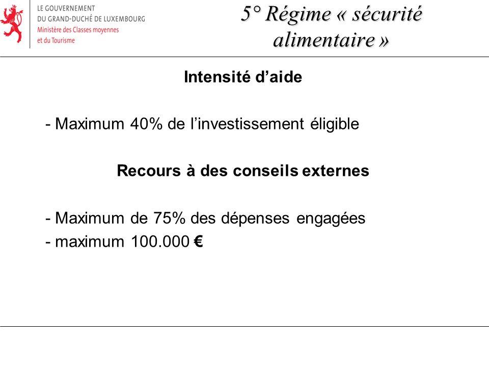 Intensité daide - Maximum 40% de linvestissement éligible Recours à des conseils externes - Maximum de 75% des dépenses engagées - maximum 100.000 5° Régime « sécurité alimentaire »