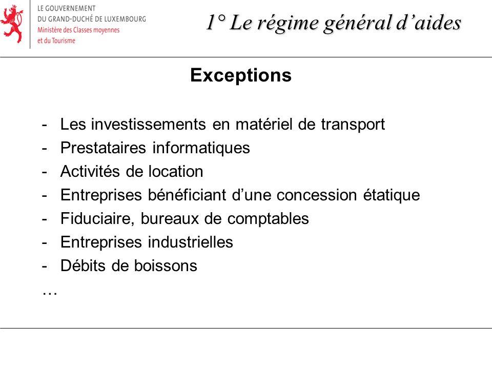 Exceptions -Les investissements en matériel de transport -Prestataires informatiques -Activités de location -Entreprises bénéficiant dune concession é
