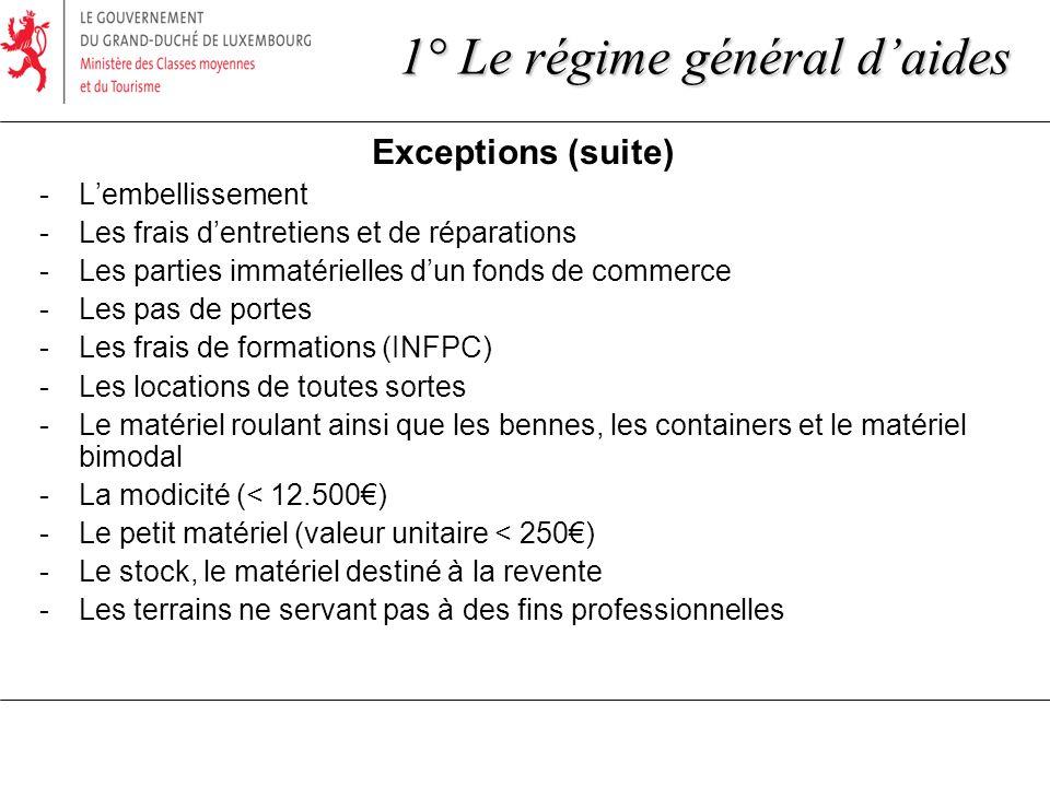 Exceptions (suite) -Lembellissement -Les frais dentretiens et de réparations -Les parties immatérielles dun fonds de commerce -Les pas de portes -Les