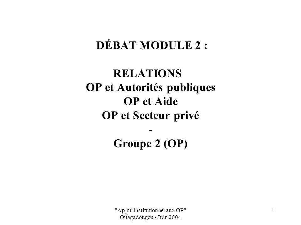 Appui institutionnel aux OP Ouagadougou - Juin 2004 1 DÉBAT MODULE 2 : RELATIONS OP et Autorités publiques OP et Aide OP et Secteur privé - Groupe 2 (OP)